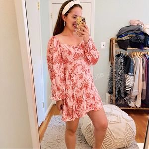 NWT Forever 21 Pink Red Floral Smock Cutout Dress
